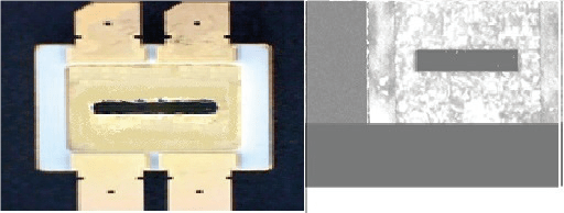 Figure 4: Eutectic package (left) with Sonoscan inspection results (right)